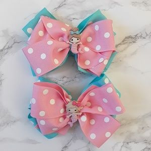 Other - 2 Pink and Turquoise Hair Bows